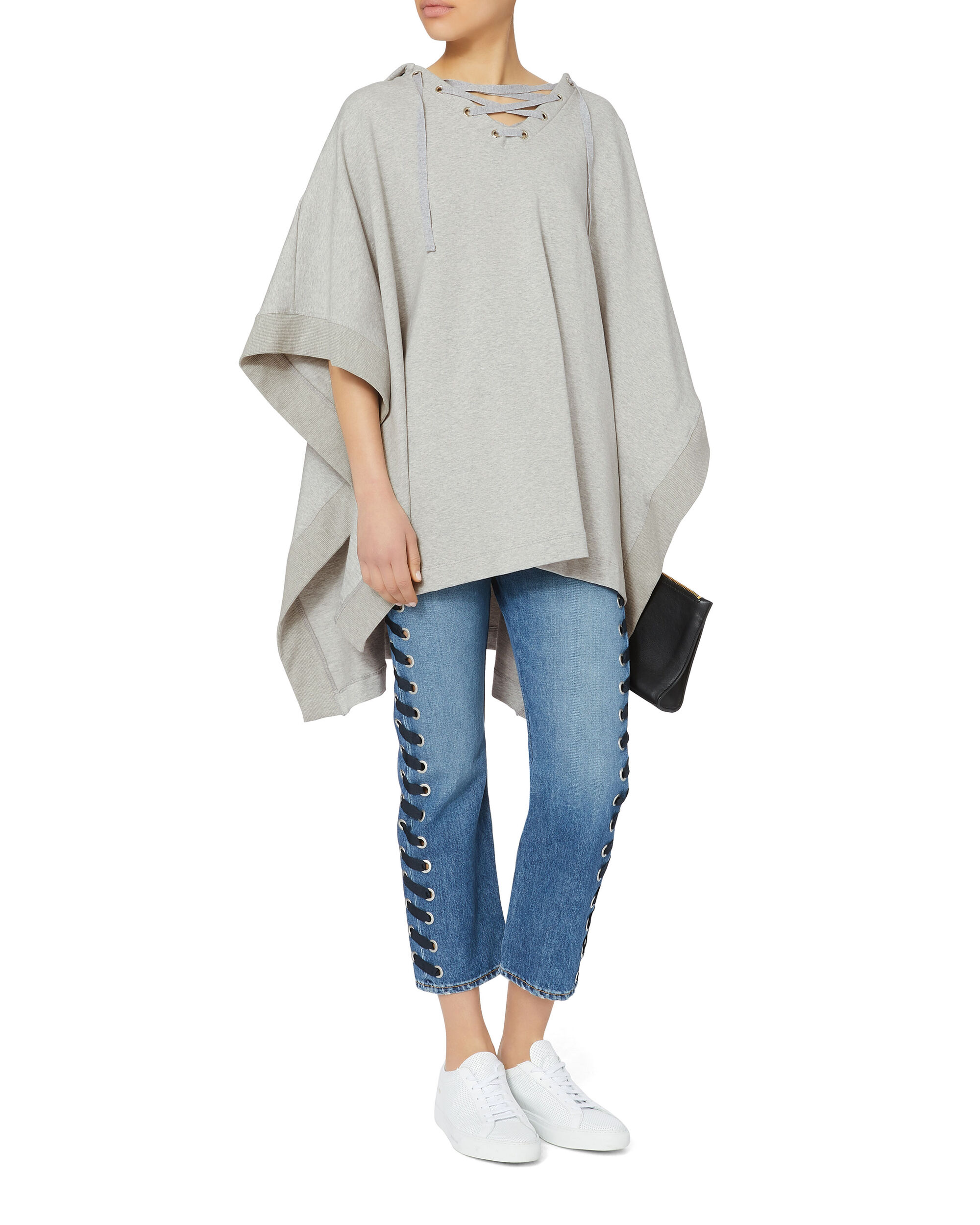 Lizzy Lace-Up Poncho, GREY, hi-res