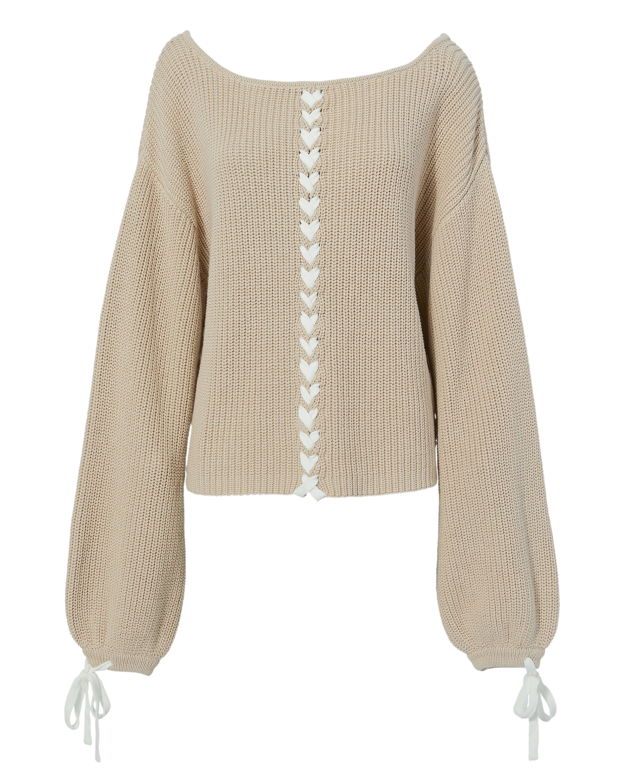 Pama Lace-Up Sweater, BEIGE, hi-res