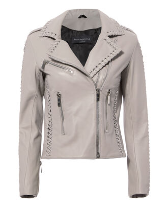 Vinyl Leather Jacket, GREY-LT, hi-res