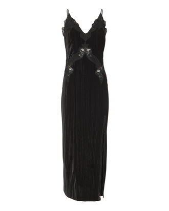 Black Velvet Appliqué Deep-V Midi Dress, BLACK, hi-res