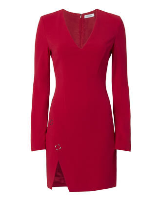 Metal Ring Detail V-Neck Dress, RED, hi-res