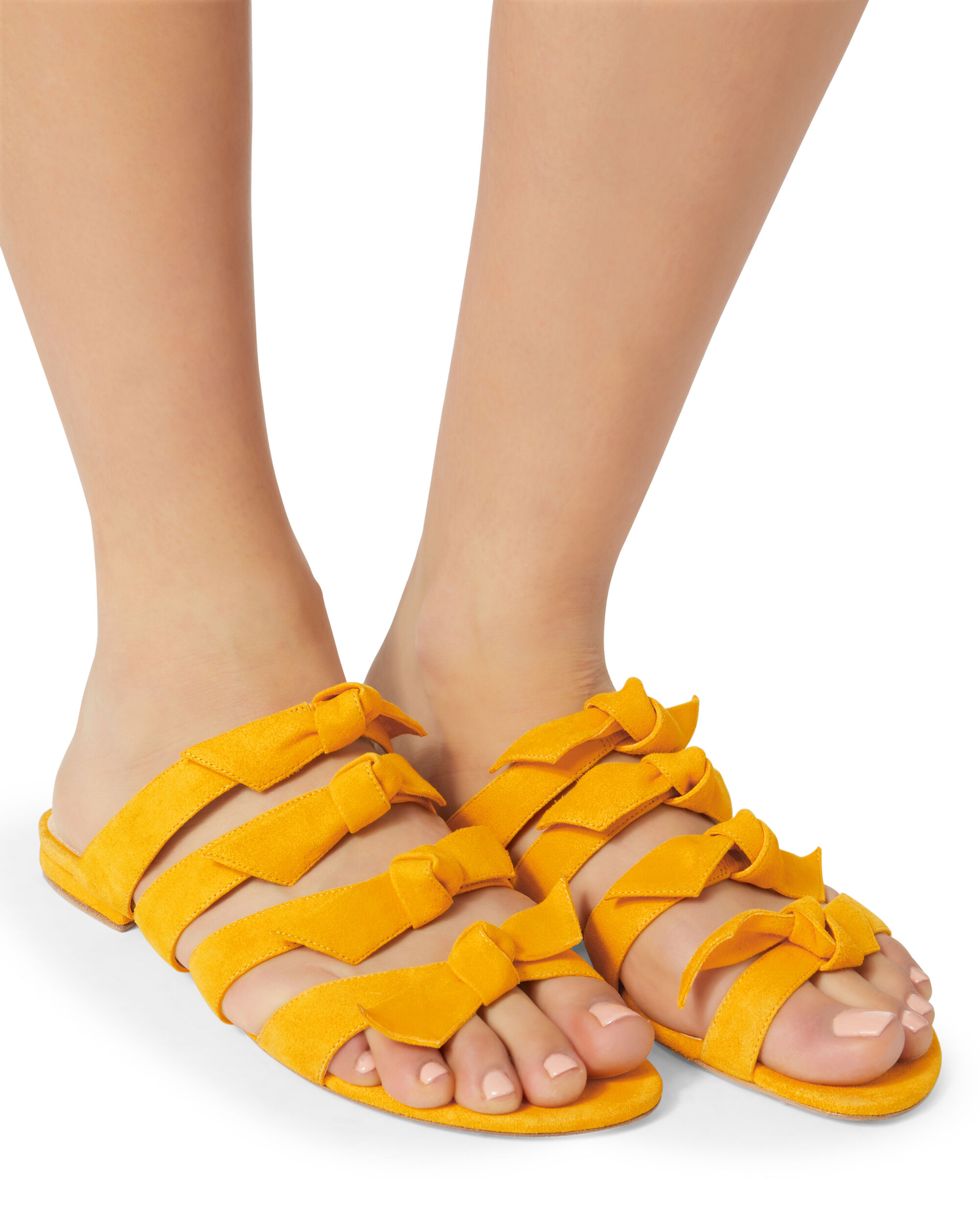 Knotted Yellow Suede Sandals, YELLOW, hi-res