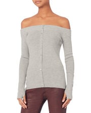 Delphine Off Shoulder Knit Sweater, GREY, hi-res