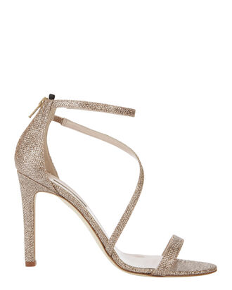 Serpentine Glitter Gold Sandals, METALLIC, hi-res