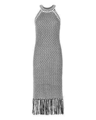 Teegan Fringe Knit Dress, BLK/WHT, hi-res