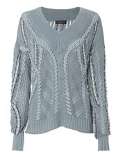 Lucie Pointelle Knit Sweater, BLUE-MED, hi-res