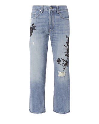 Marilyn Embroidered Crop Jeans, DENIM, hi-res