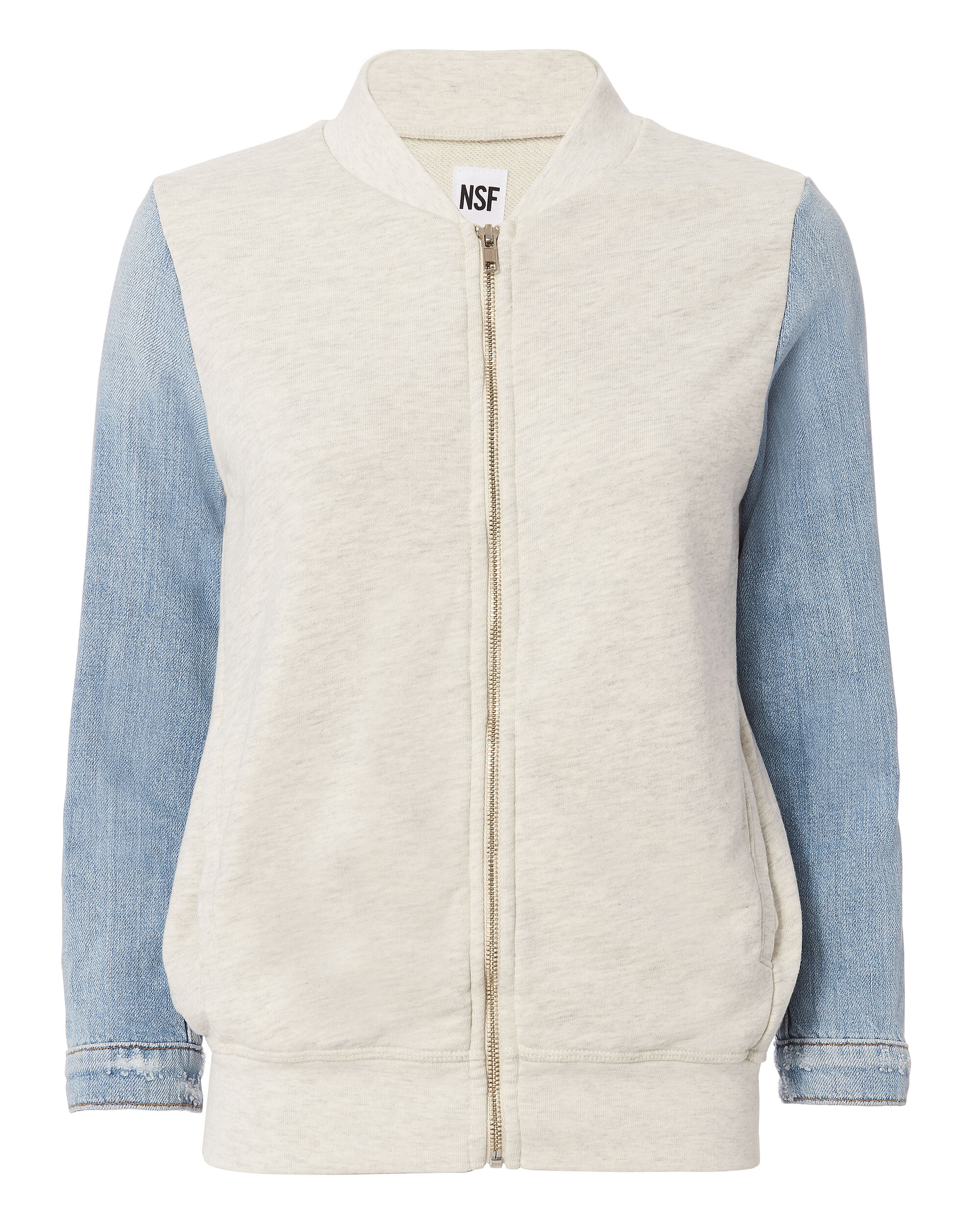 Denim-Sleeved Bomber Jacket, GREY-LT, hi-res