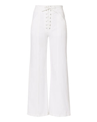 Kyt Lace-Up White Pants     , WHITE, hi-res