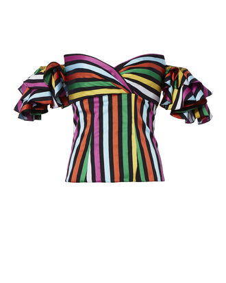 Louisa Ruffle Sleeve Striped Top, PATTERN, hi-res