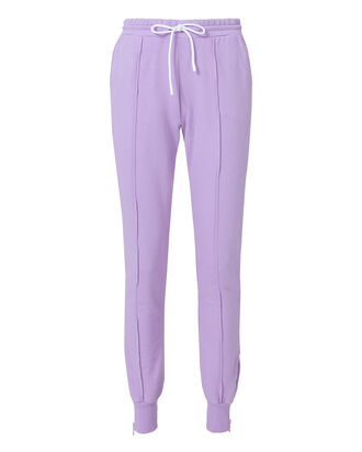 Milan Zip Detail Purple Jogger Pants, PURPLE-LT, hi-res