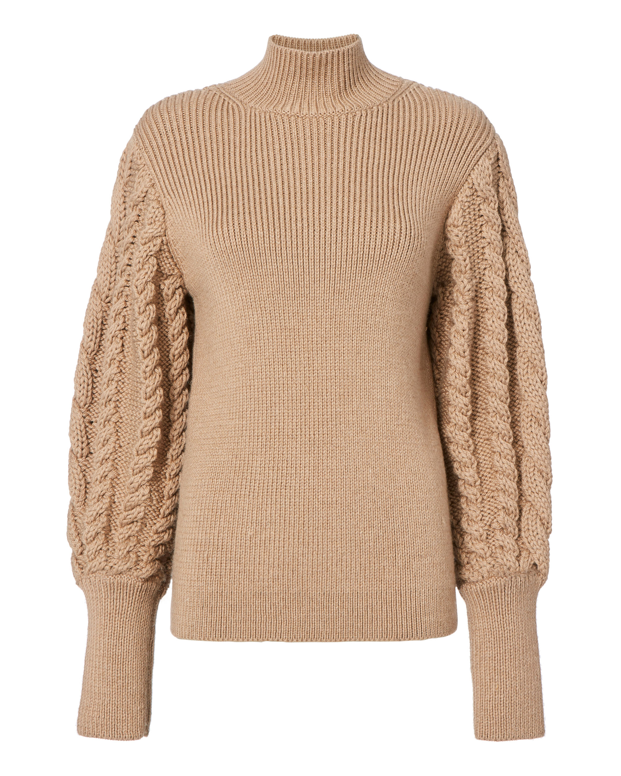 Cable Knit Sleeve Sweater, BEIGE/KHAKI, hi-res