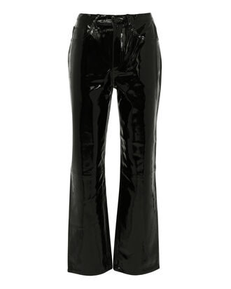 Patent Straight Pants, BLACK, hi-res
