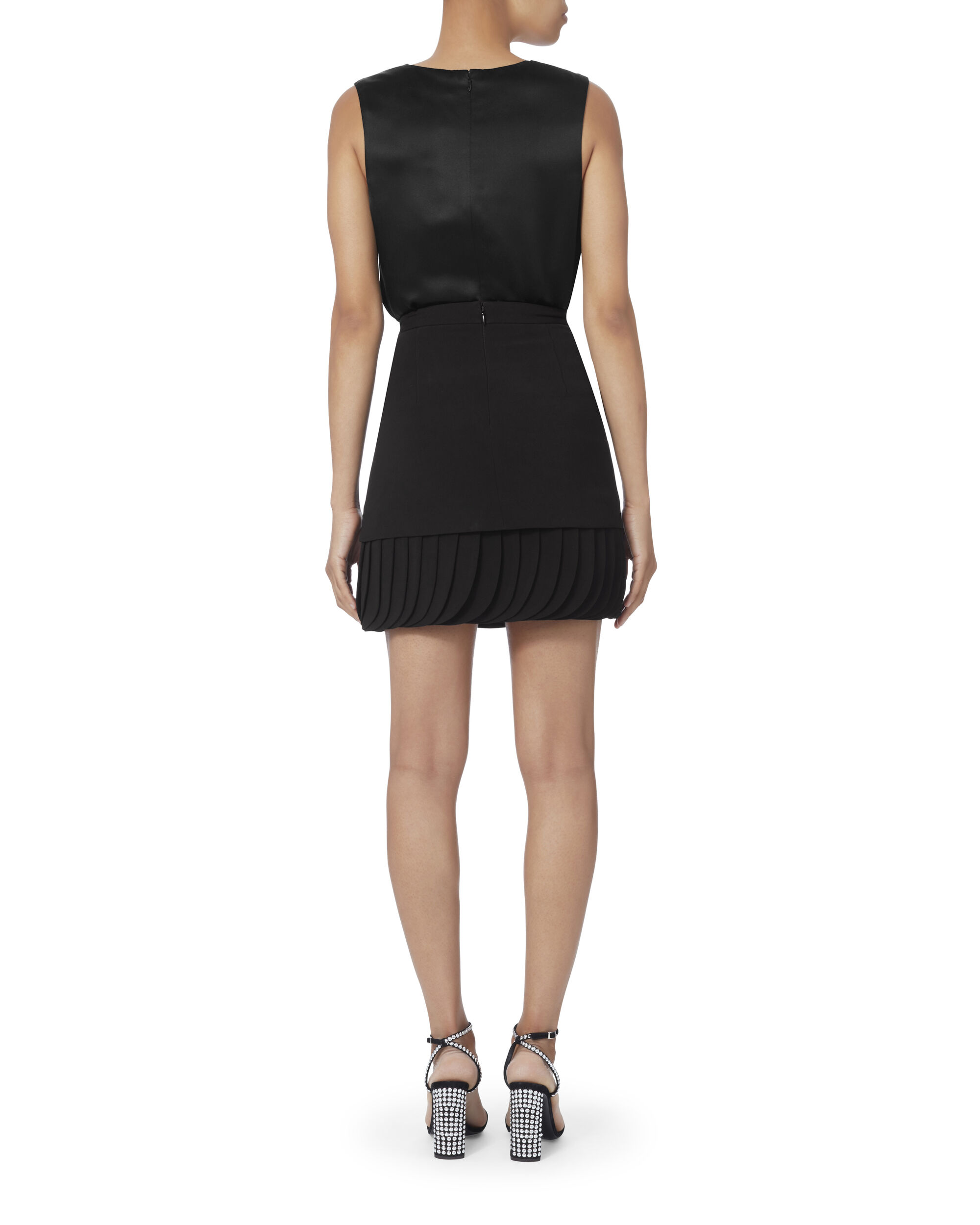 Layered Petal Hem Crepe Skirt, BLACK, hi-res