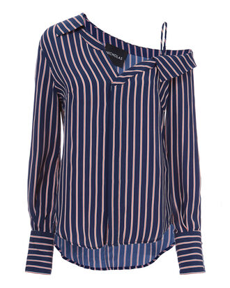 Pinstriped Slip Shoulder Shirt, STRIPE, hi-res