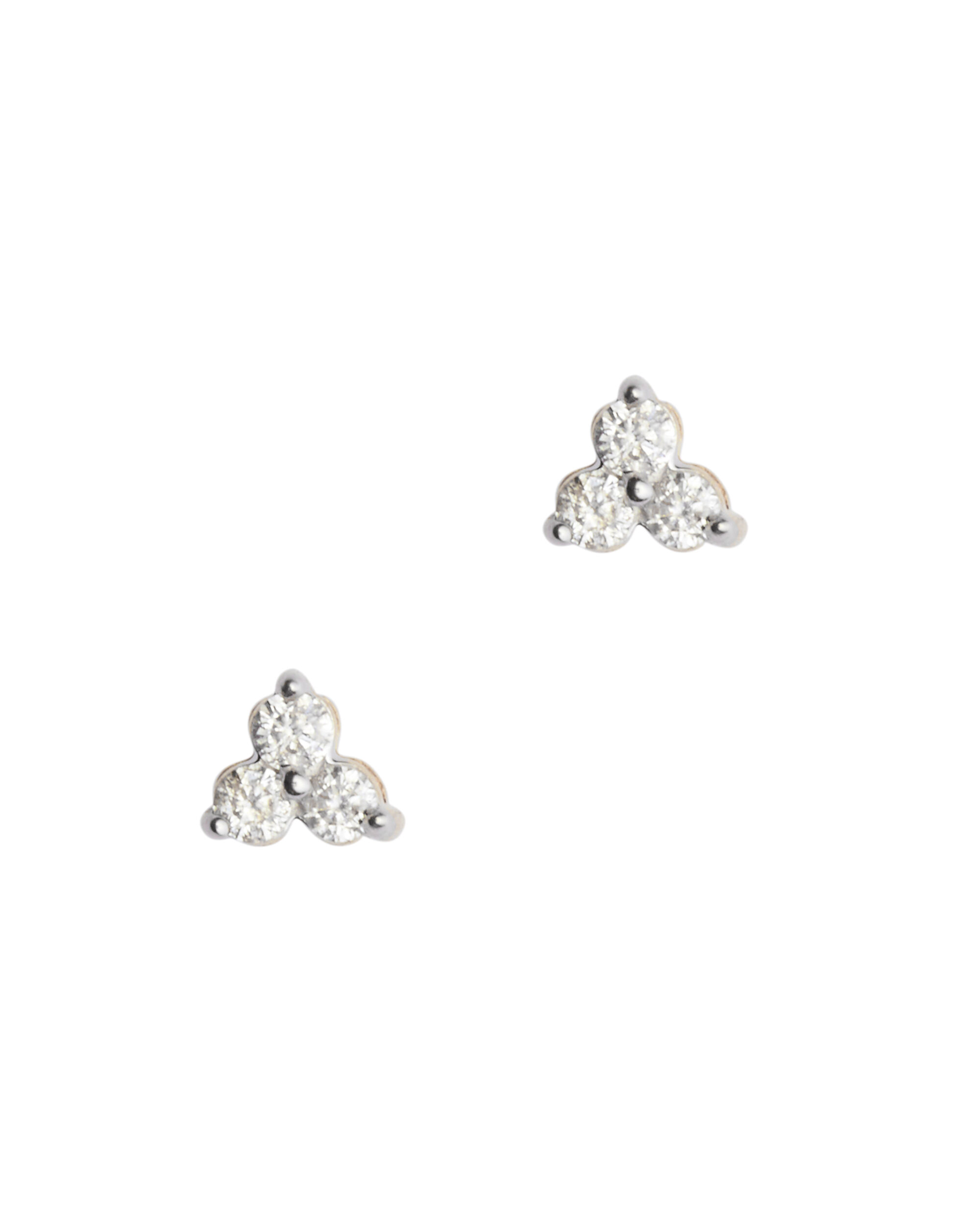 Diamond Triple Cluster Stud Earrings, METALLIC, hi-res
