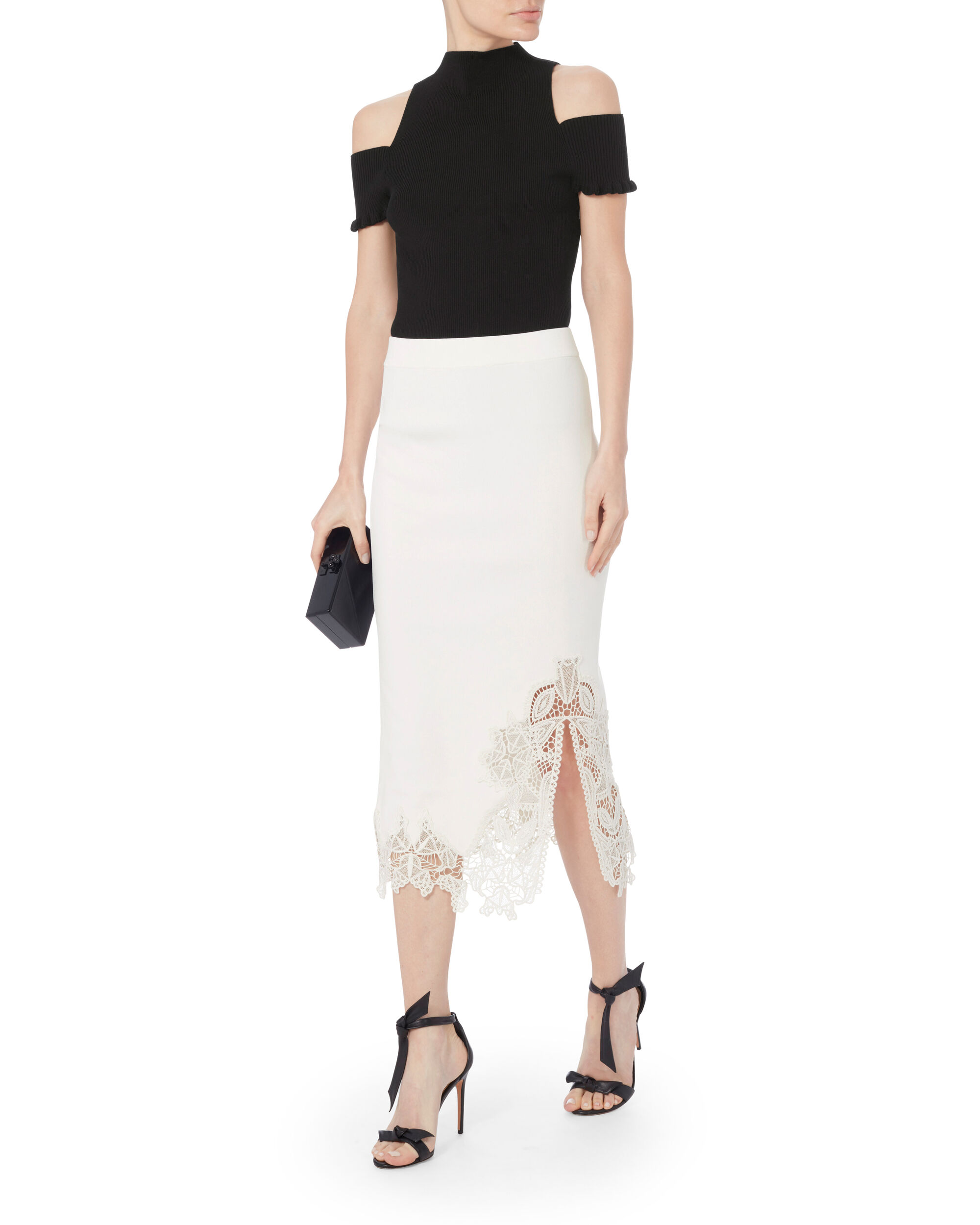 Appliqué Knit Pencil Skirt, WHITE, hi-res