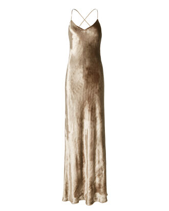Gold Velvet Bias Gown, , hi-res