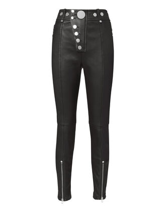 Black Snap Leather Leggings, BLACK, hi-res