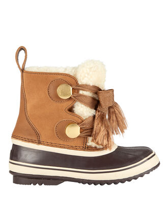 Chloé X Sorel Crosta Leather-Trimmed Suede And Shearling Boots, , hi-res