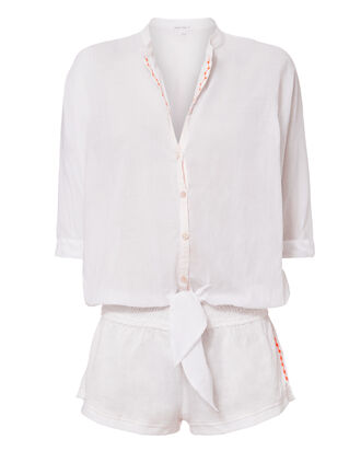 Kim Long Sleeve White Romper, WHITE, hi-res