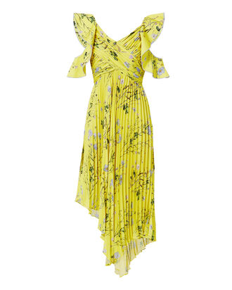 Cold Shoulder Asymmetric Floral Dress, YELLOW, hi-res