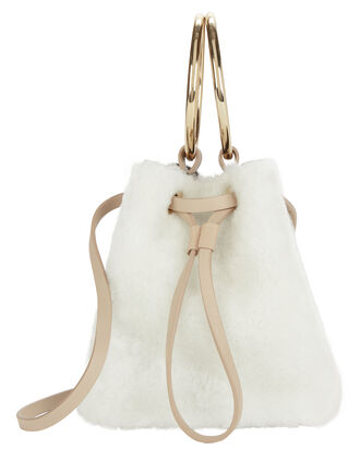White Shearling Mini Bucket Crossbody Bag, WHITE, hi-res