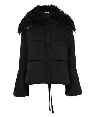 Lace-Up Shearling-Trimmed Puffer Jacket, BLACK, hi-res