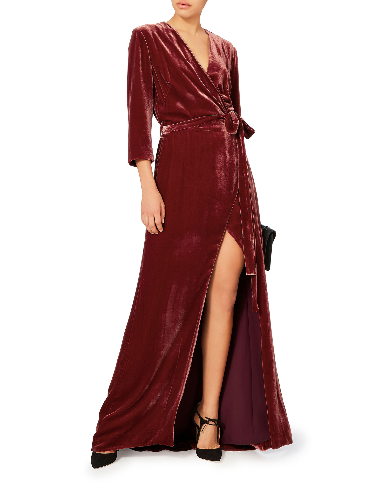 Red Velvet Wrap Maxi Dress L Agence