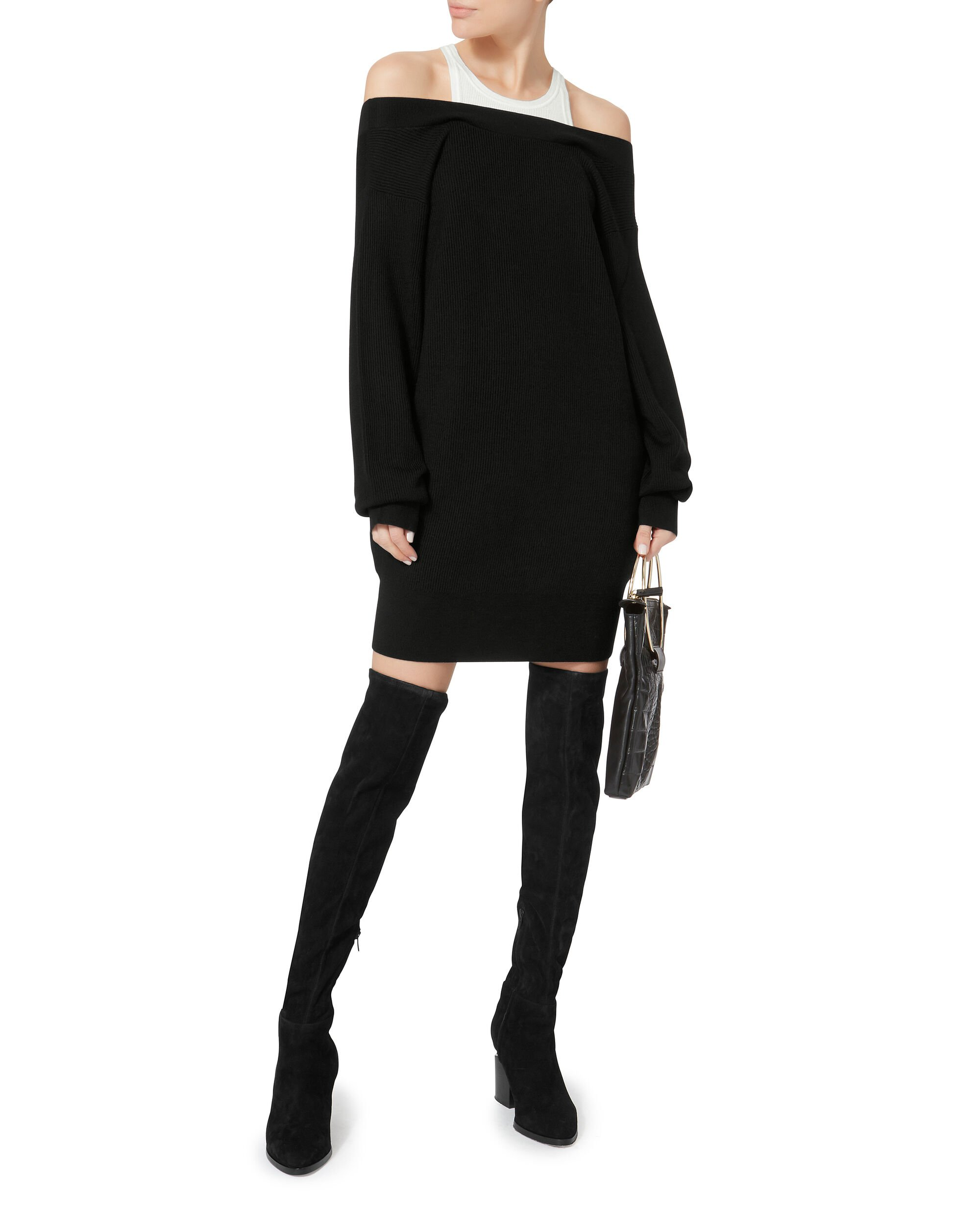 Layered Tank Black Sweater Dress, BLACK/WHITE, hi-res
