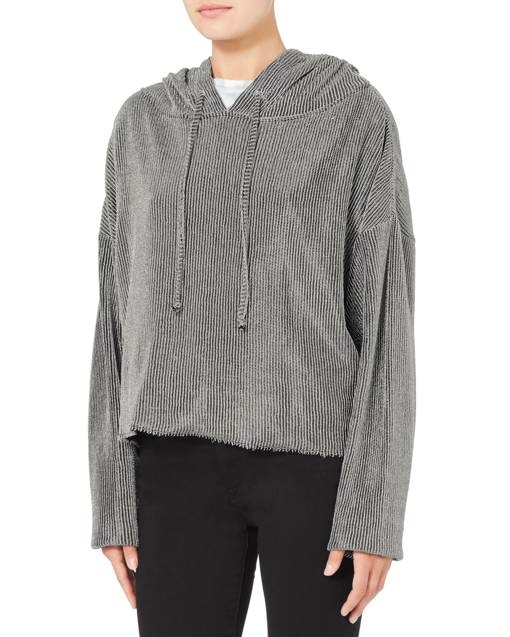 Marvin Metallic Cropped Hoodie, SILVER, hi-res