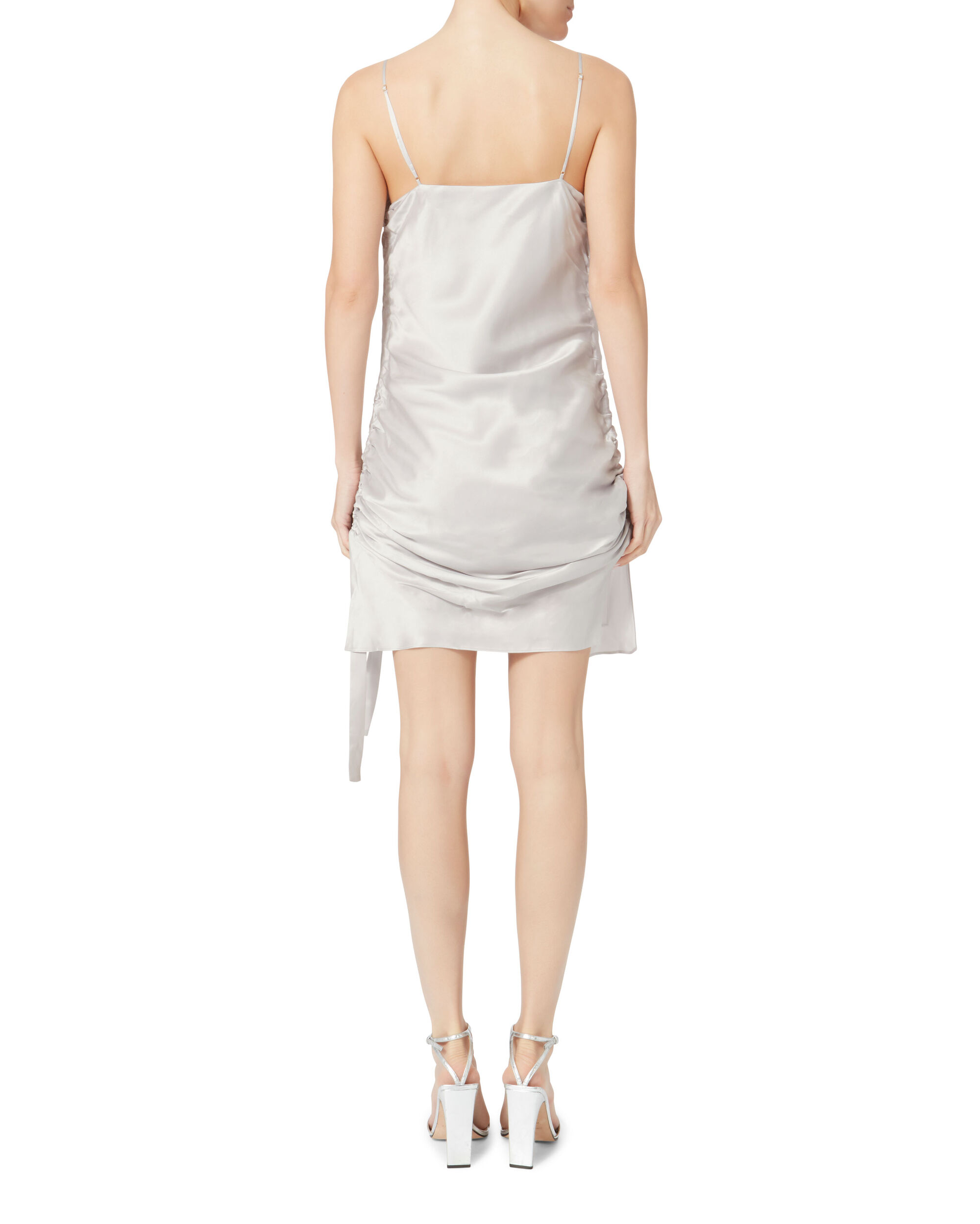 Ruched Slip Mini Dress, METALLIC, hi-res