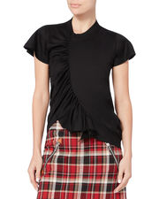Gathered Front Asymmetric Tee, BLACK, hi-res