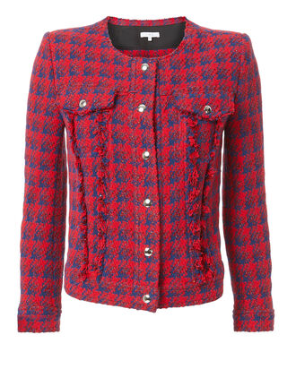 Quilombe Tweed Boxy Jacket, RED, hi-res