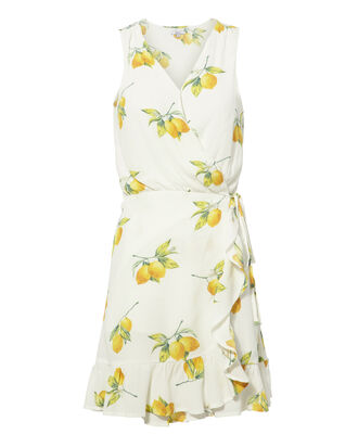 Madison Lemon Wrap Dress, MULTI, hi-res
