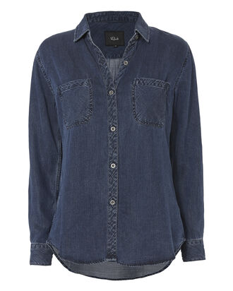 Dark Vintage Button Down Shirt, DENIM, hi-res