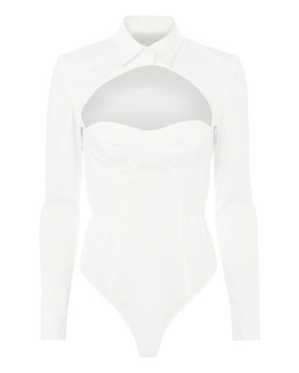 Cutout Shirt Bodysuit, WHITE, hi-res