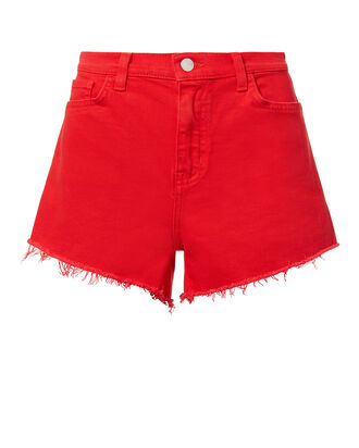 Ryland Siren Red Cut Off Shorts, RED, hi-res