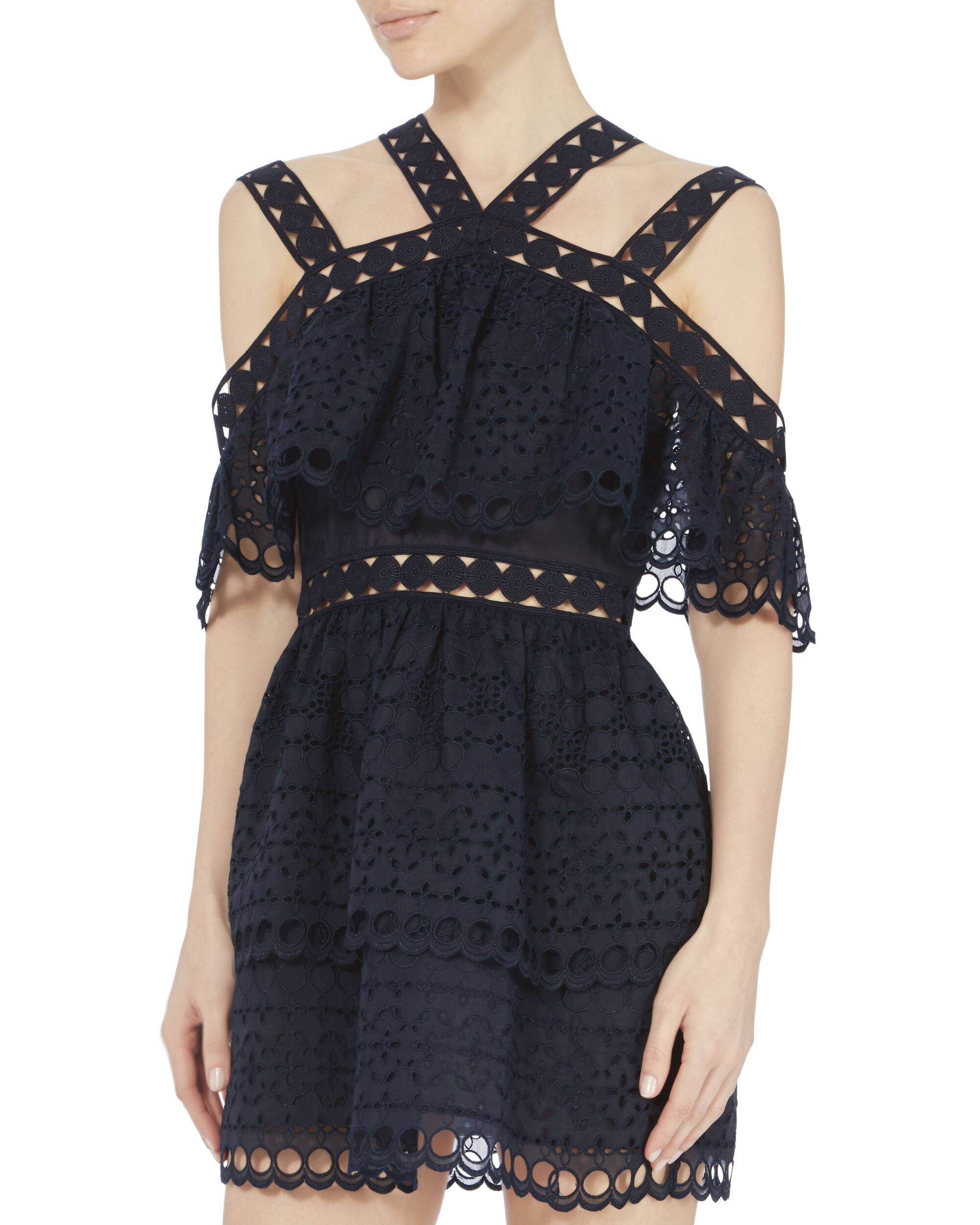 Embroidered Tiered Mini Dress, NAVY, hi-res