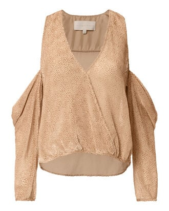 Velvet Burnout Drop Shoulder Blouse, BEIGE, hi-res
