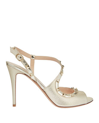 Rockstud Metallic Leather Stiletto Sandals, GOLD, hi-res