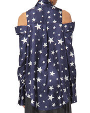 Star-Printed Cold Shoulder Shirt, NAVY, hi-res