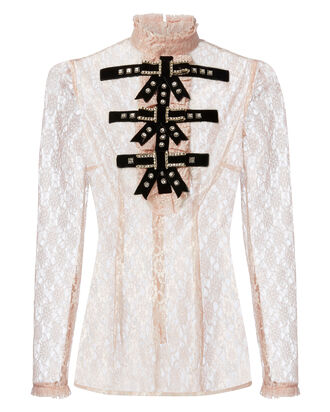 Crystal-Embellished Bow Tie Lace Top, BLUSH, hi-res