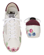 Superstar Flower Low-Top Leather Sneakers, WHITE, hi-res
