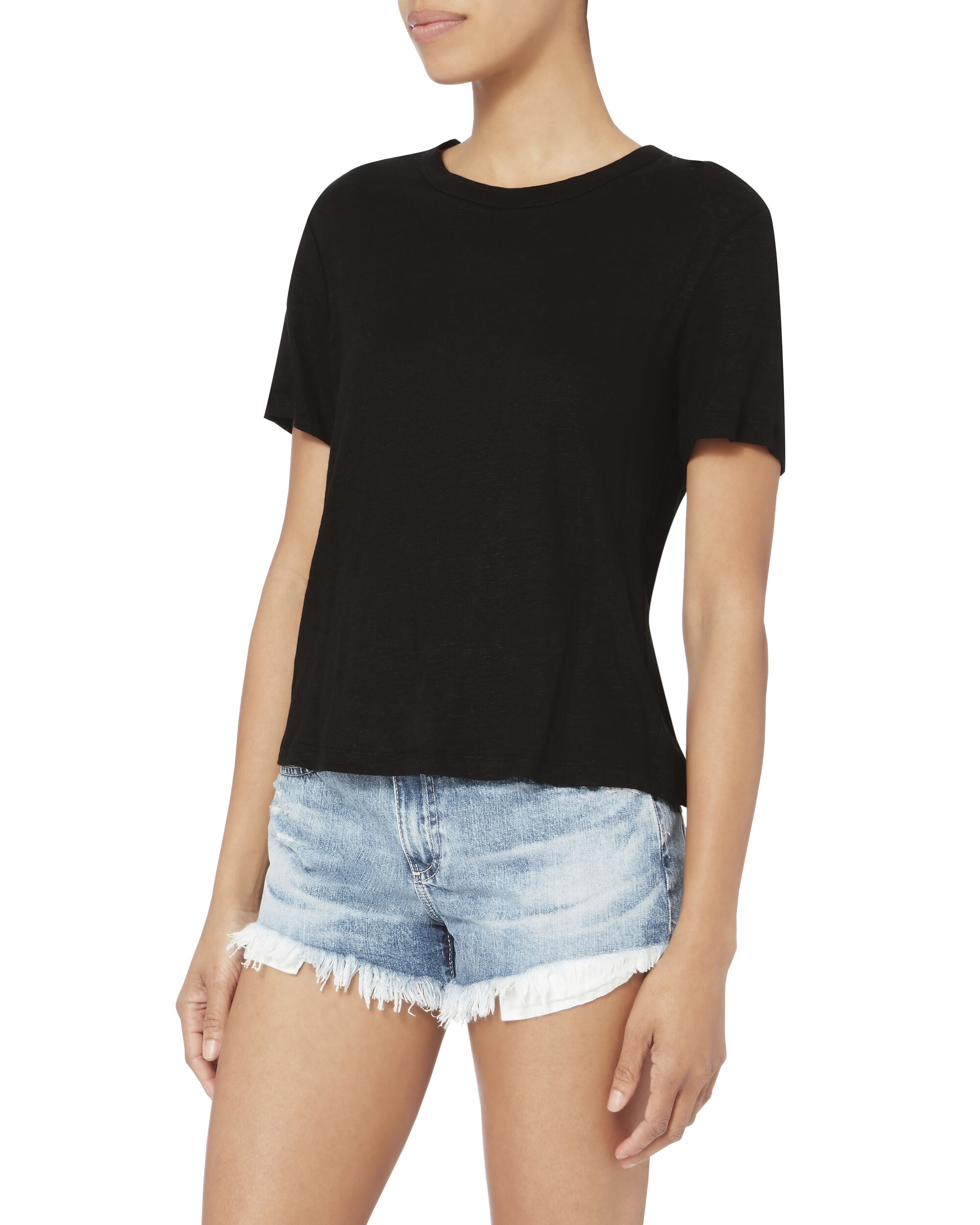 Alber Lace-Up Linen Tee, BLACK, hi-res