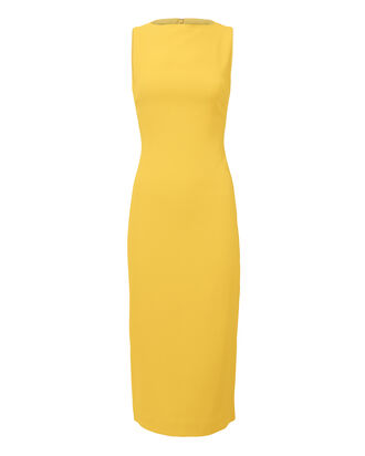 Yellow Sheath Midi Dress, YELLOW, hi-res