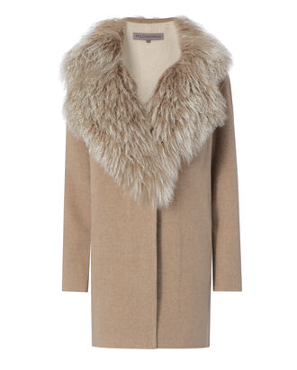 Mongolian Trim Wool Coat, BEIGE/KHAKI, hi-res