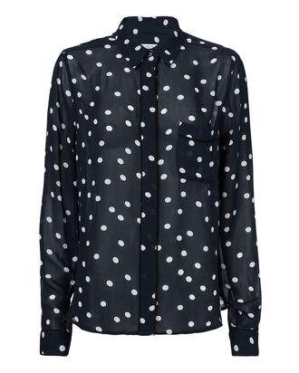 Polka Dot Georgette Blouse, PRINT, hi-res
