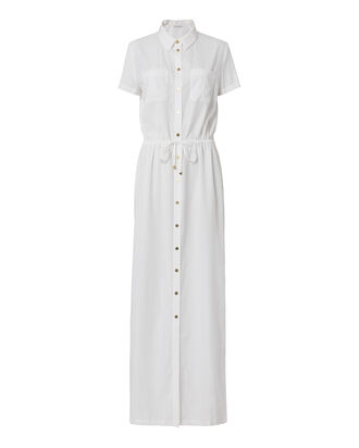 Button-Down Maxi Dress, WHITE, hi-res