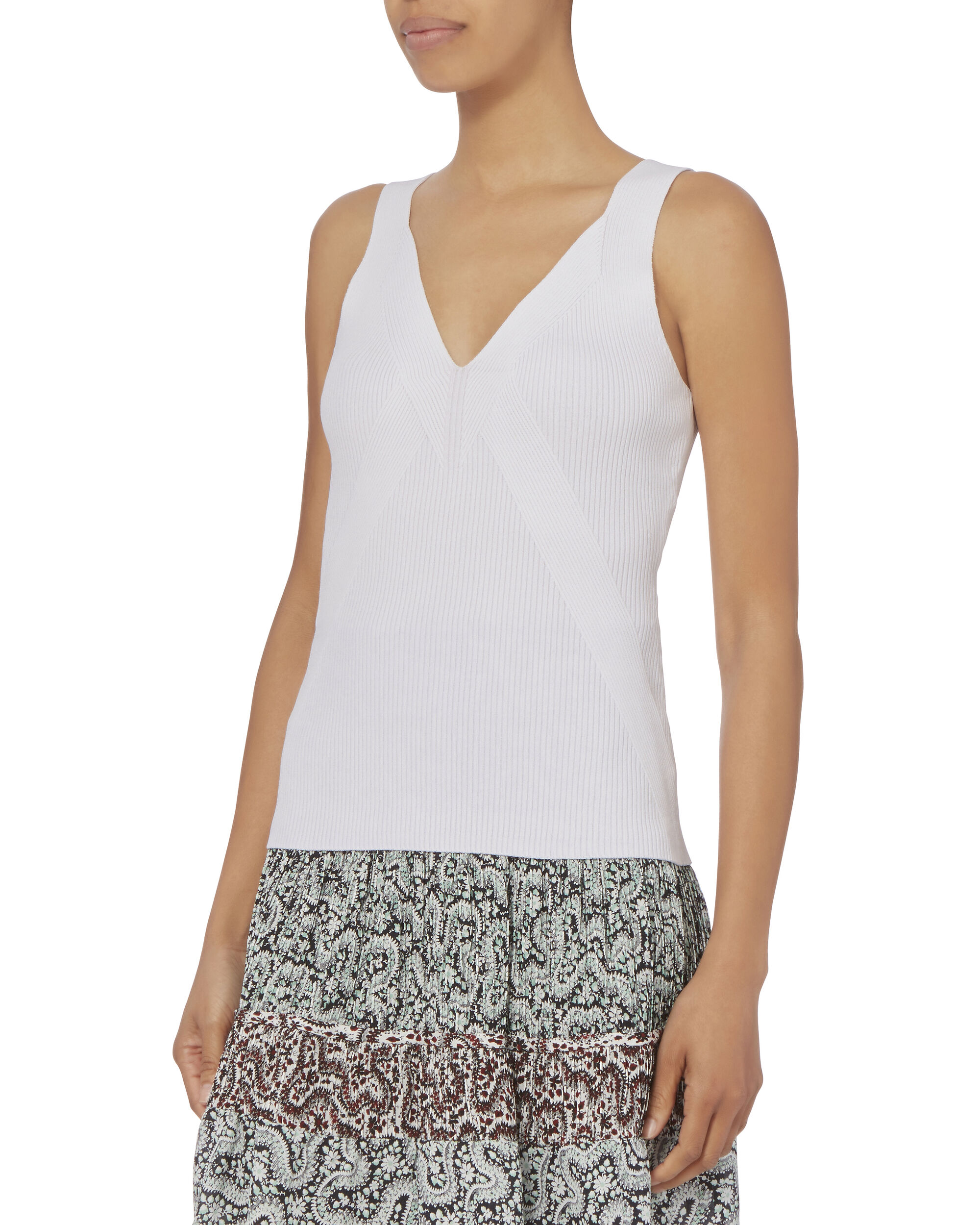 Cecilia Ribbed Knit Top, WHITE, hi-res